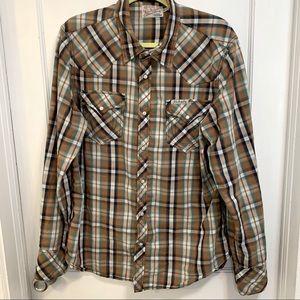 True religion men's western snap up plaid shirt